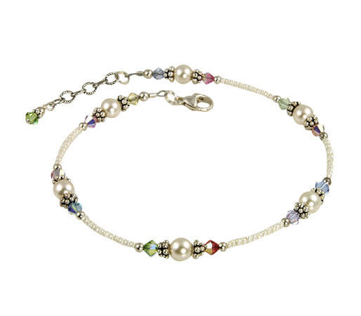 The Pastel Cream Rose Pearl anklet is stunning