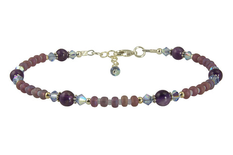 purple beaded anklet
