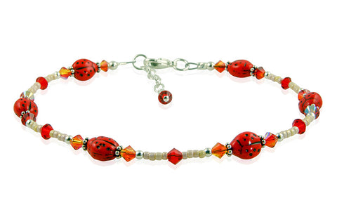 fire opal beaded ladybug anklet