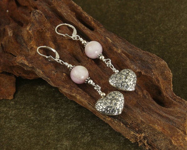 kunzite gemstone earrings