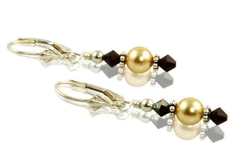 garnet gold pearl earrings