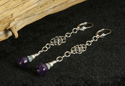 Amethyst Gemstone Crystal Beaded Earrings
