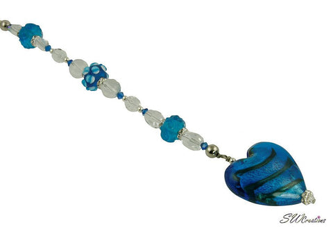 blue heart beaded fan pull