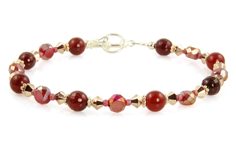 Golden Red Jade Gemstone Bracelet
