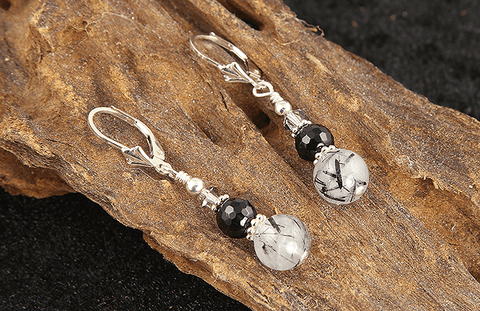 onyx beaded earrings