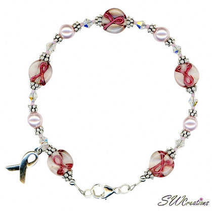 handmade breast cancer awareness bracelet