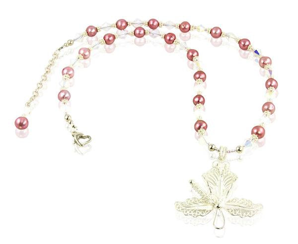 Pink Pearl Hibiscus Necklace