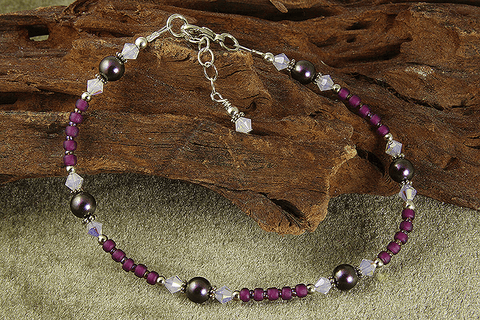 purple beaded anklets