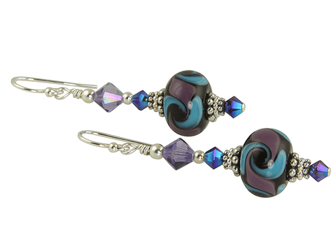 purple Swarovski lampwork earrings