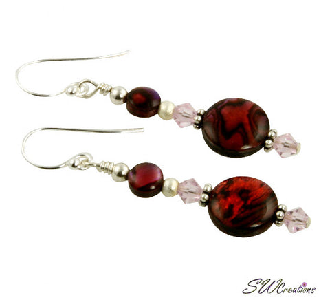 red holiday beaded earrings