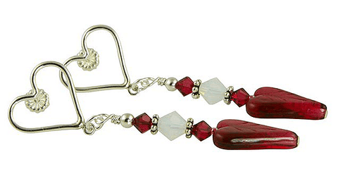 ruby heart handmade earrings