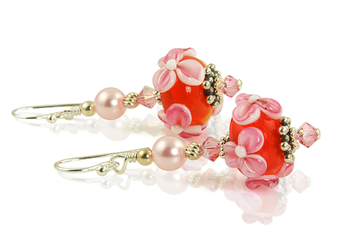 floral lampwork earrings