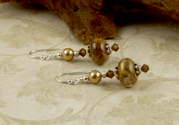 topaz lampwork earrings