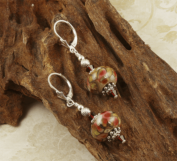 tiffany style lampwork earrings
