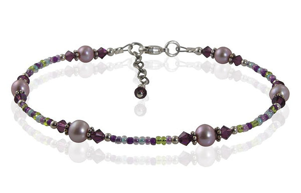 Mauve Freshwater Pearl Beaded Anklet - SWCreations