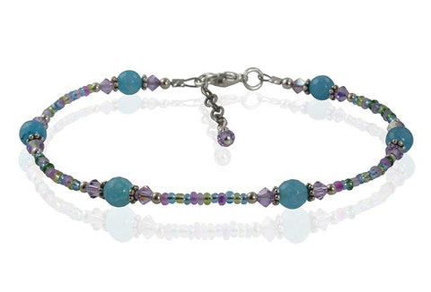 Aqua Dreams Gemstone Beaded Anklet - SWCreations