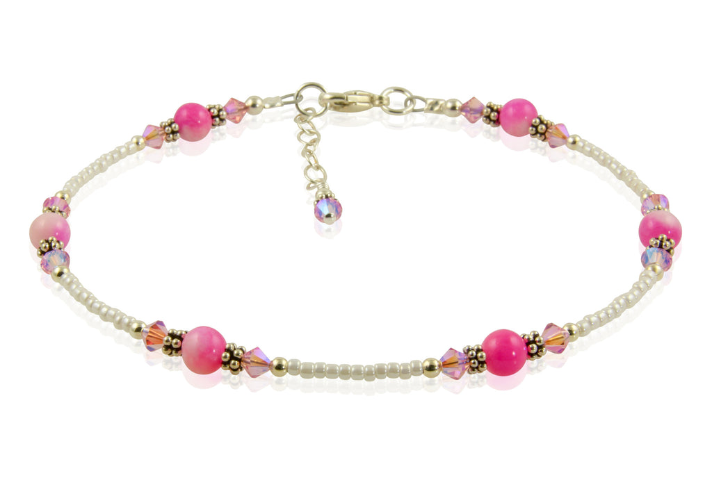Pink Jade Gemstone Beaded Anklet - SWCreations