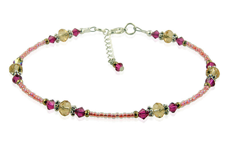 Fuchsia Pink Topaz Beaded Anklet - SWCreations
