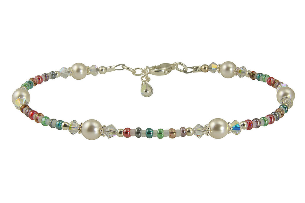 Fancy Jewel Crystal Pearl Beaded Anklet