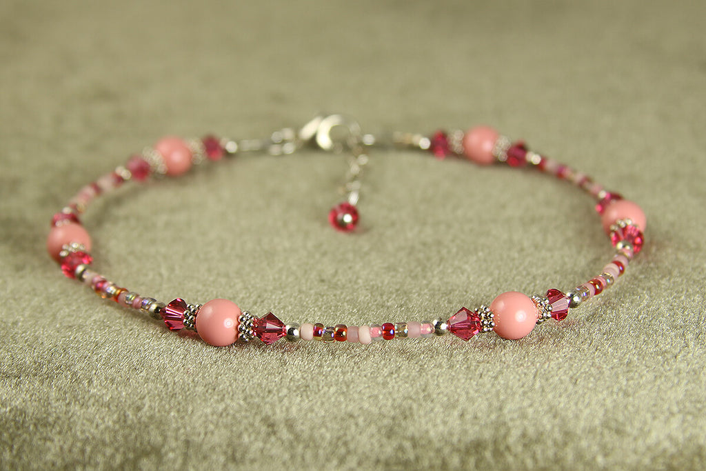 Cotton Candy Pink Beaded Anklet