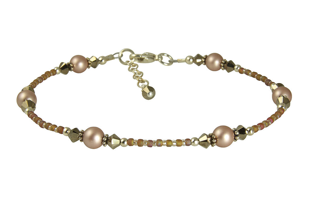 Bronze Almond Pearl Beaded Anklet