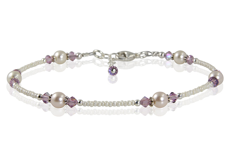 Light Amethyst Cream Pearl Beaded Anklet - SWCreations