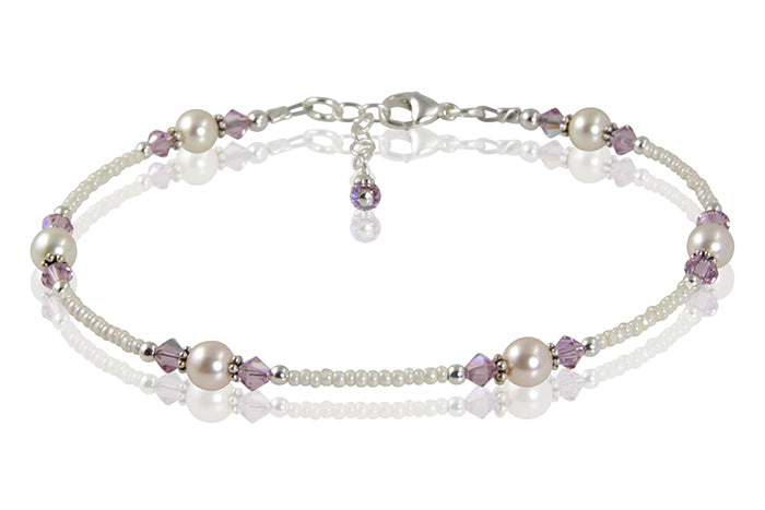 Light Amethyst Cream Pearl Beaded Anklet - SWCreations  - 2