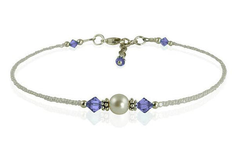 Victoria - Custom Crystal Cream Pearl Beaded Anklets