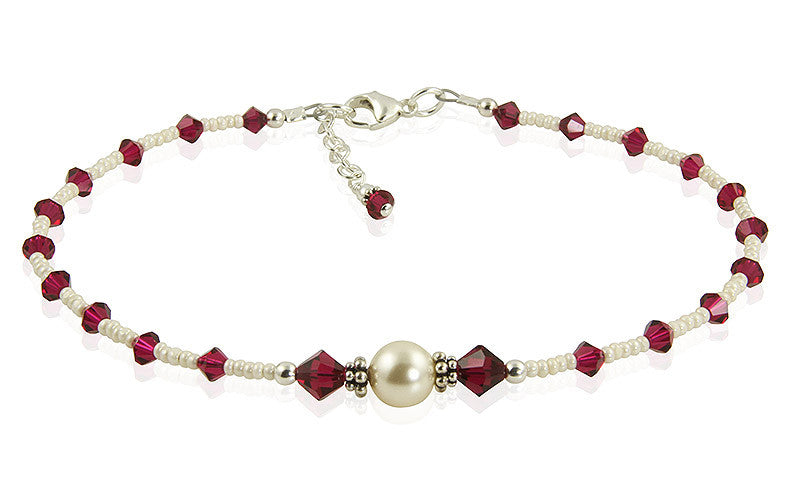 Custom Jewel Tones Crystal Pearl Anklet - SWCreations  - 2