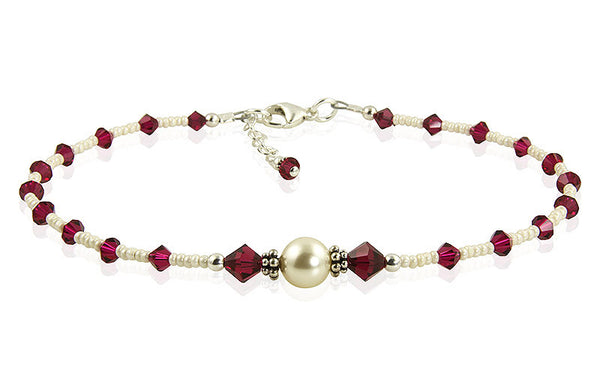 Custom Jewel Tones Crystal Pearl Anklet - SWCreations  - 1