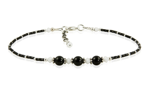 Elegant Crystal Onyx Gemstone Beaded Anklet