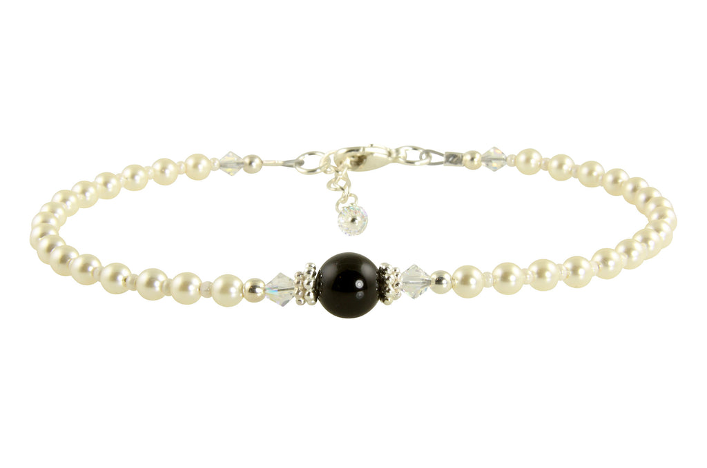 Elegant Black Pearl Beaded Anklet