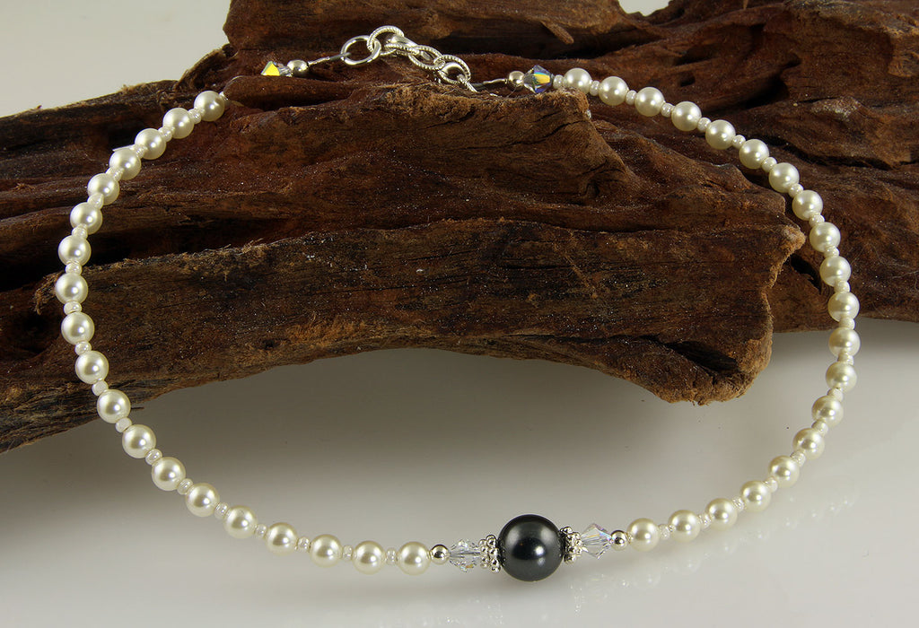Elegant Gray Pearl Beaded Anklet