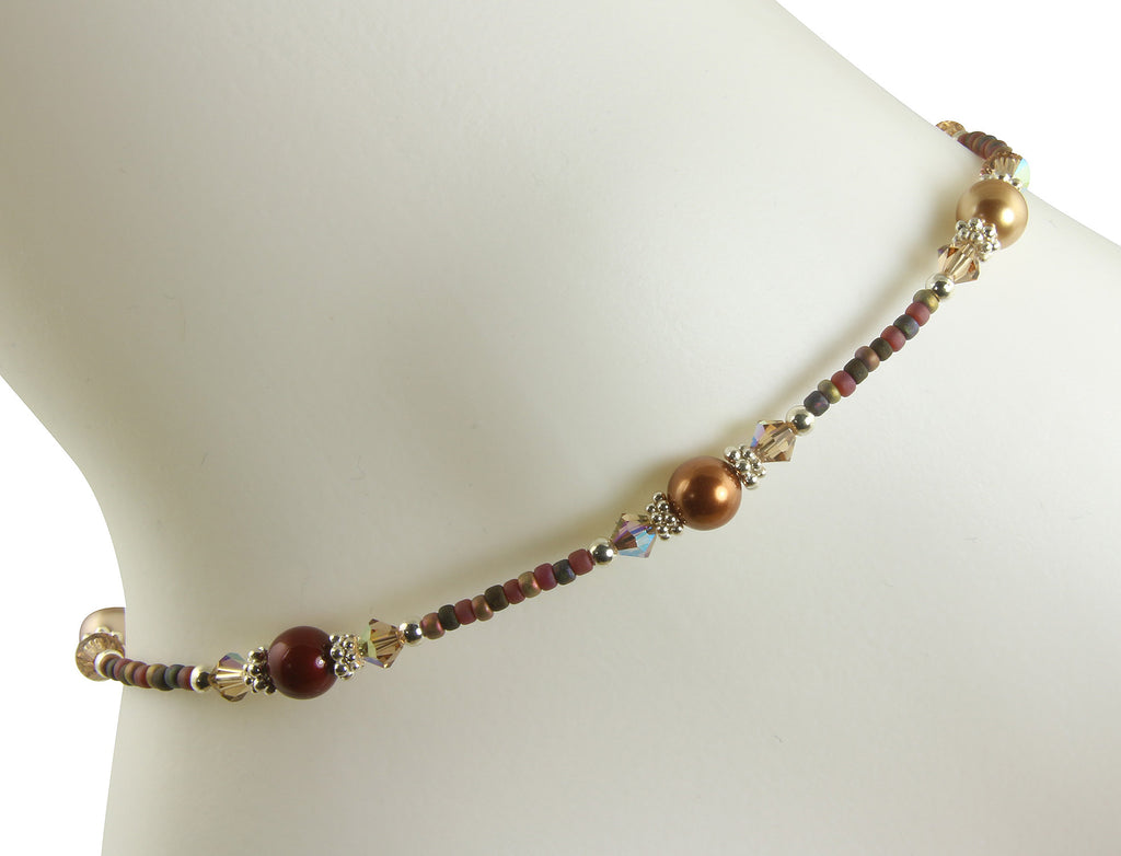 Autumn Brown Pearl Beaded Anklet