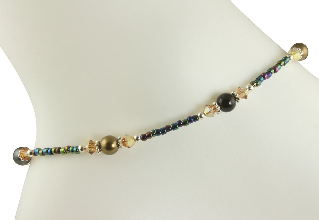 Jewel Topaz Pearl Beaded Anklet