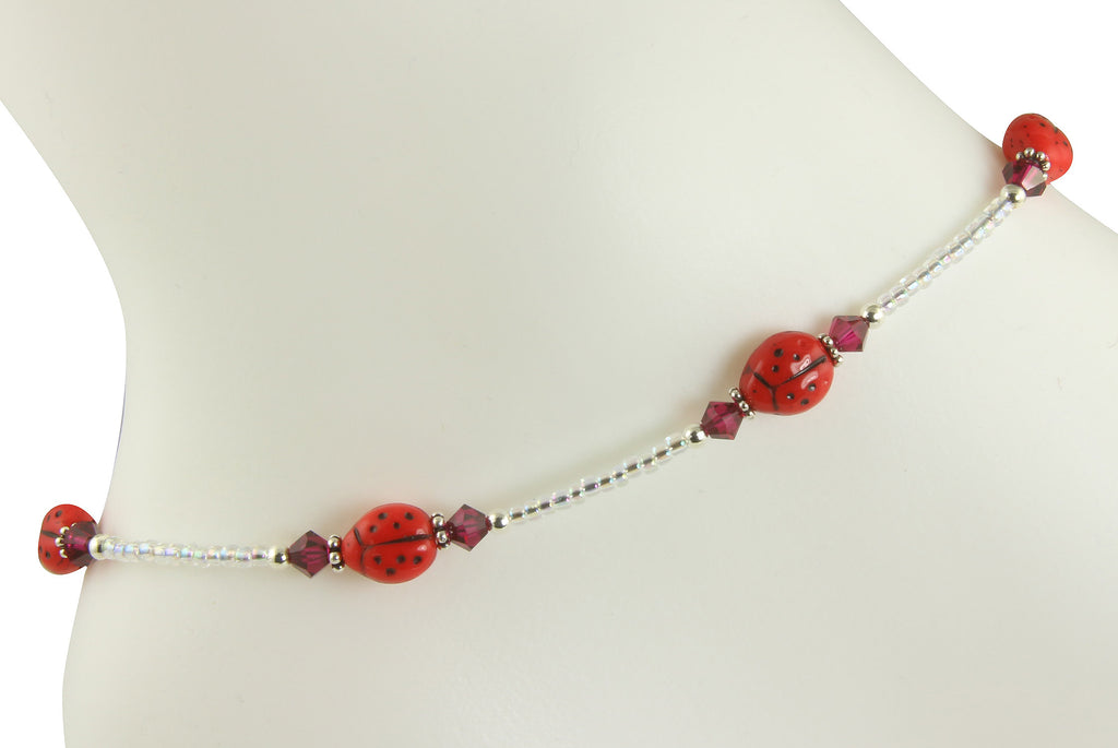 Ruby Red Ladybug Beaded Anklet