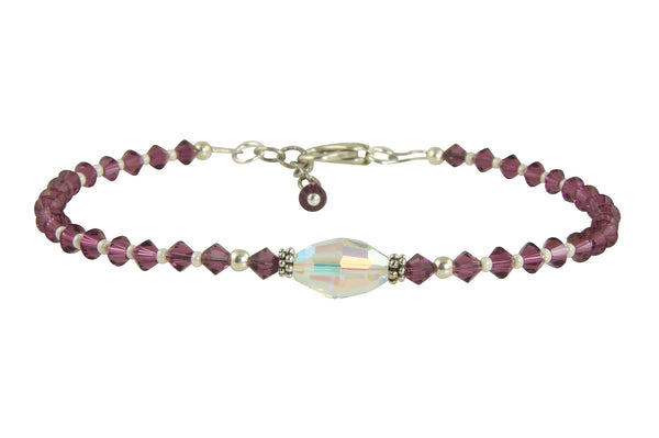 Custom Amethyst Crystal Cream Beaded Anklet