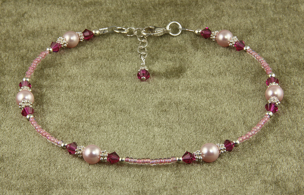 Fuchsia Pink Rose Crystal Pearl Anklet