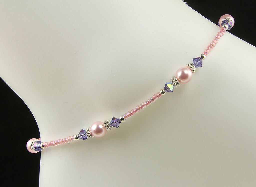 Tanzanite Pink Rose Crystal Pearl Anklet