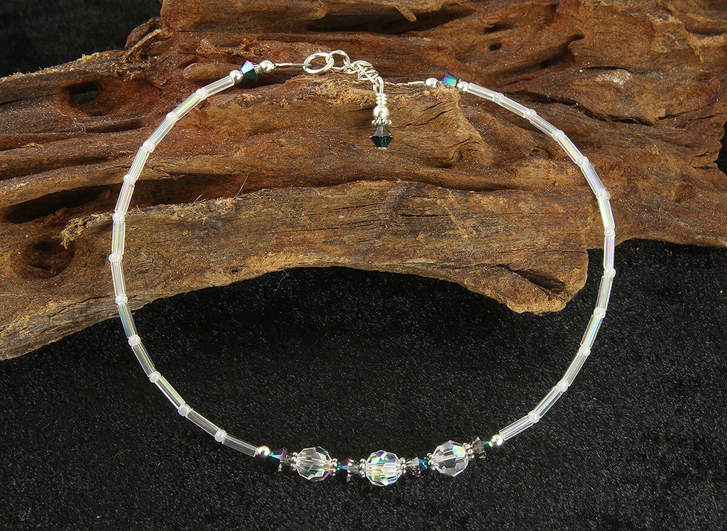 Iridescent Scarab Crystal Beaded Anklet