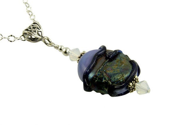 Blue Dichroic Lampwork Pendant Necklace - SWCreations