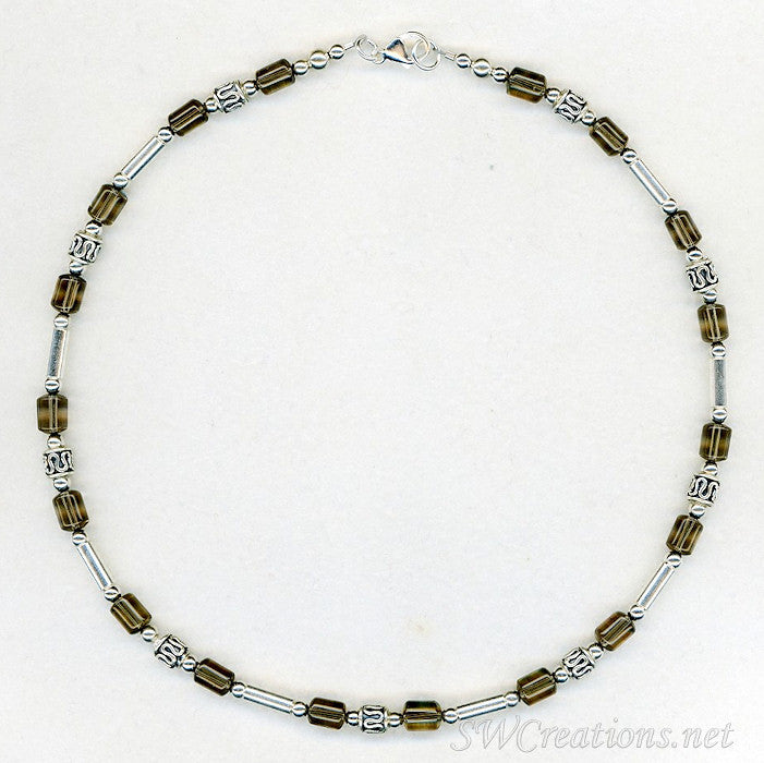 Smokey Quartz Gemstone Silver Mens Beaded Necklace - SWCreations