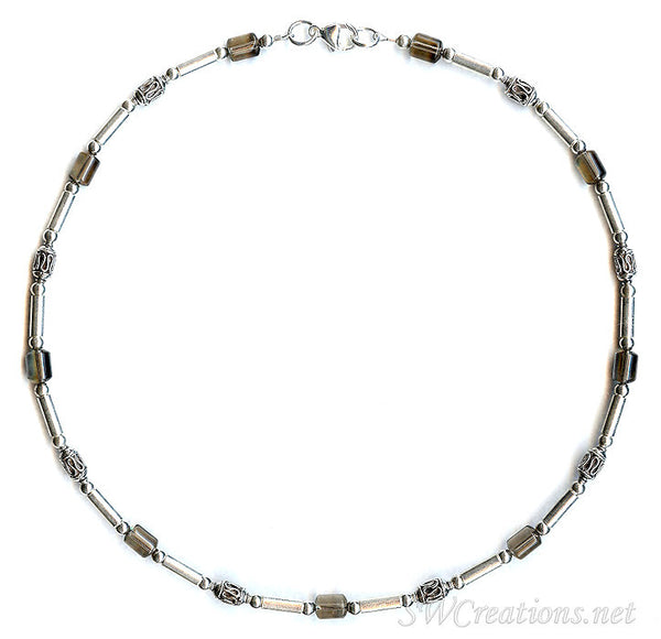 Smokey Quartz Gemstone Silver Men's Beaded Necklace 2 - SWCreations