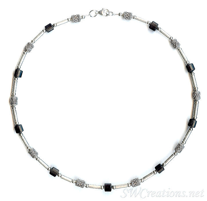 Onyx Gemstone Silver Men's Beaded Necklace 2 - SWCreations