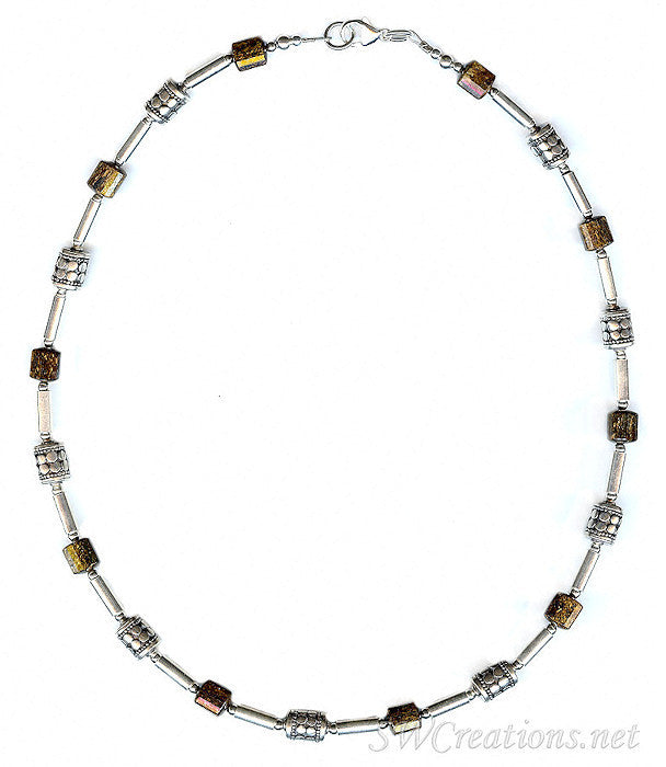 Bronzite Gemstone Silver Men's Beaded Necklace - SWCreations