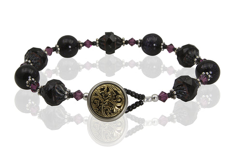 Black Gemstone Button Beaded Bracelet - SWCreations