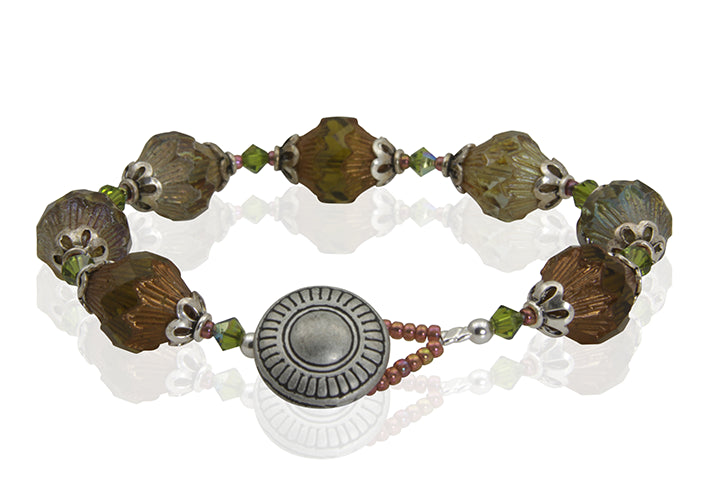 Topaz Green Button Beaded Bracelet - SWCreations