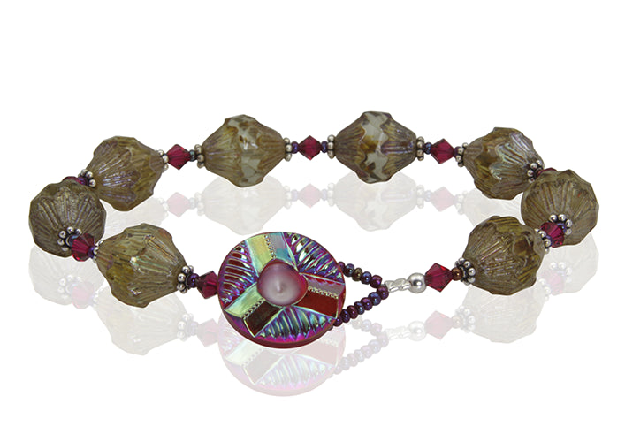 Ruby Topaz Crystal Button Bracelet - SWCreations