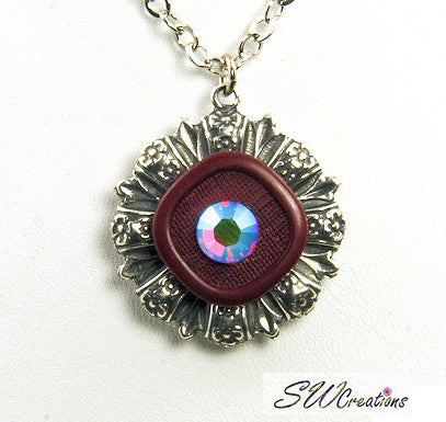 Purple Crystal Vintage Button Pendant - SWCreations  - 2