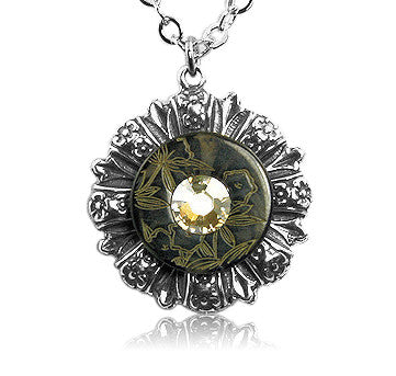 Black Floral Crystal Vintage Button Pendant - SWCreations